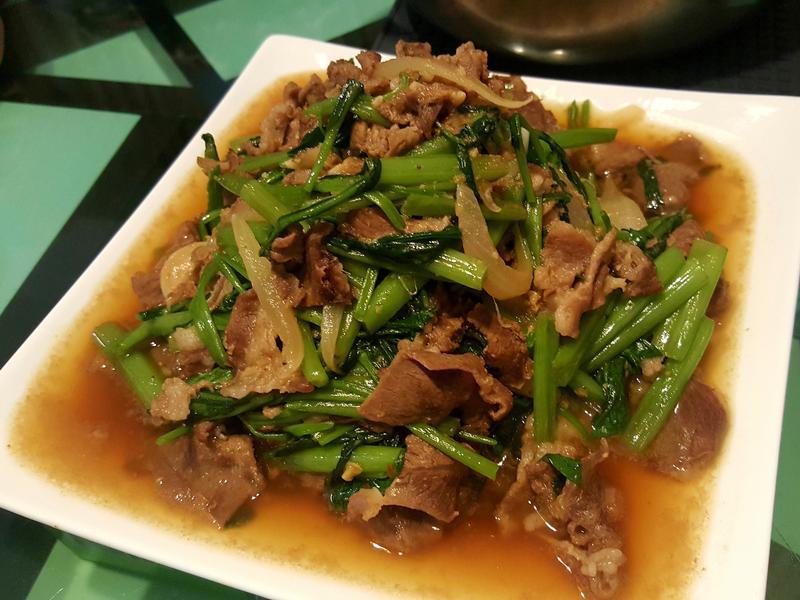 沙茶羊肉炒空心菜(羊肉燴飯)