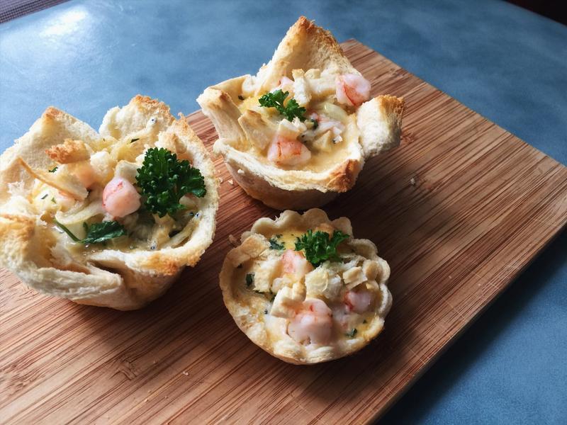 親子食譜「小魚蝦蝦土司塔」