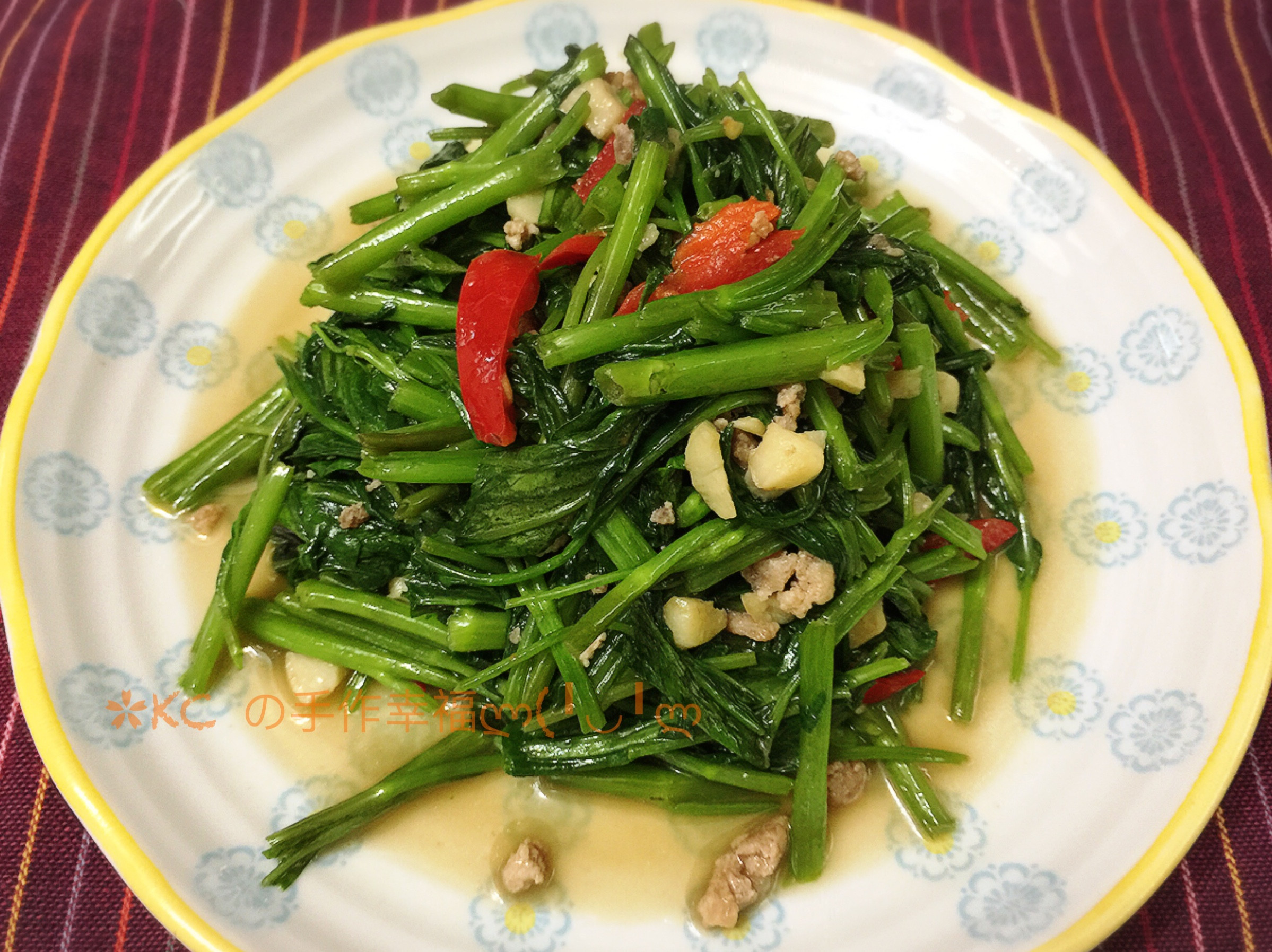 蝦醬肉末空心菜🦐