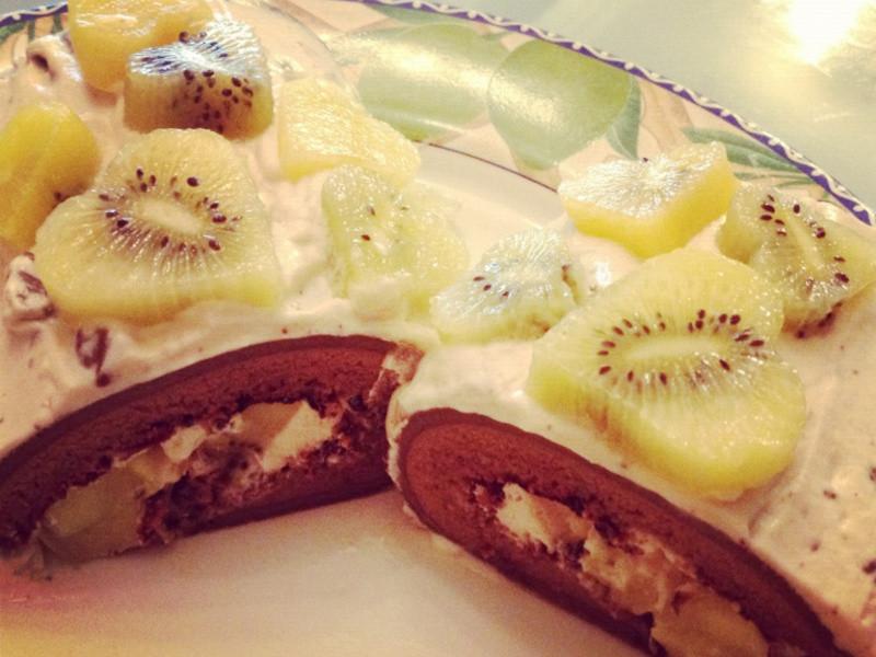 Mimi♥黃金奇異果奶油咖啡捲蛋糕