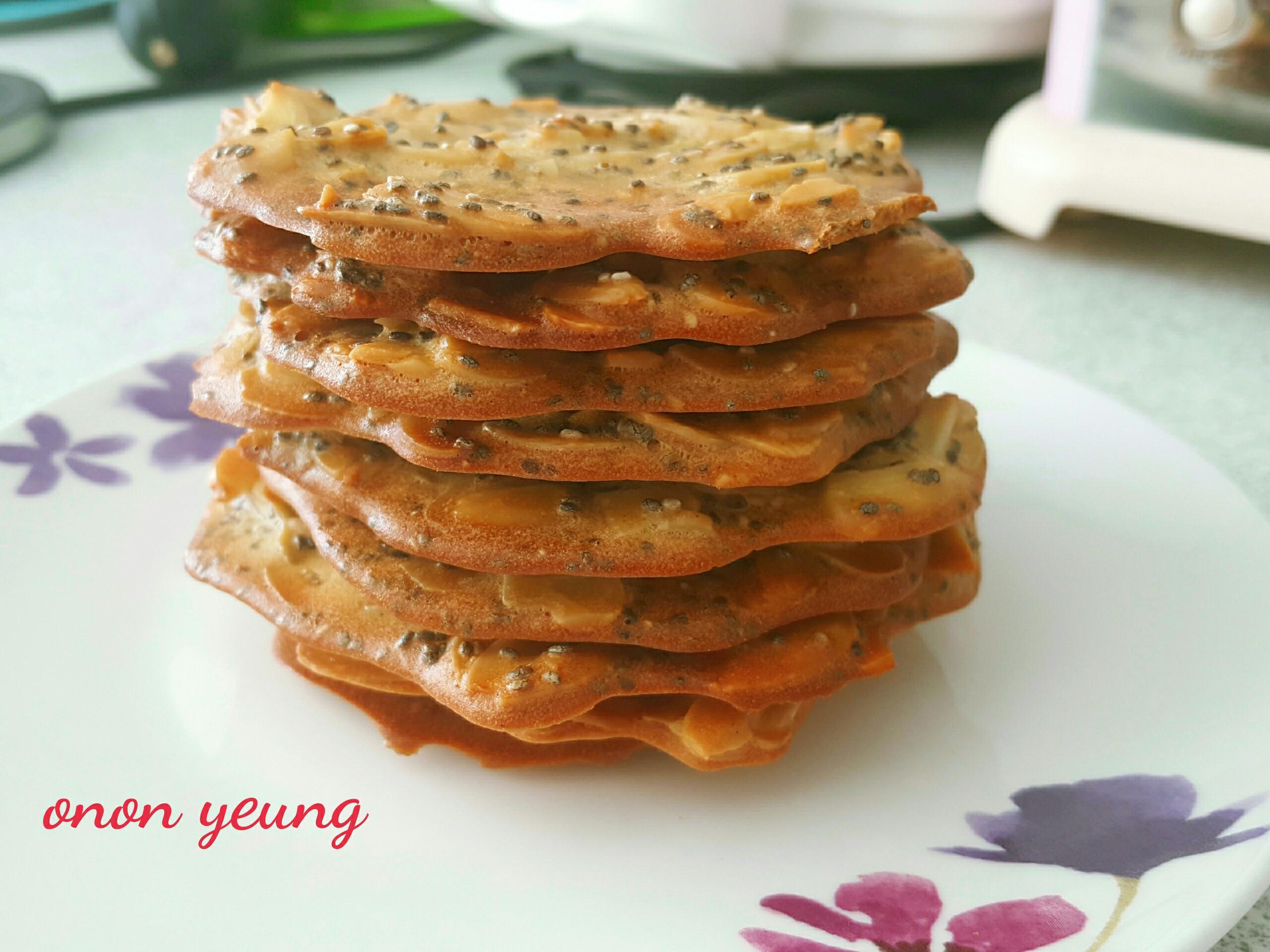 香脆奇亞籽杏仁瓦片 簡易。家常烘焙。點心