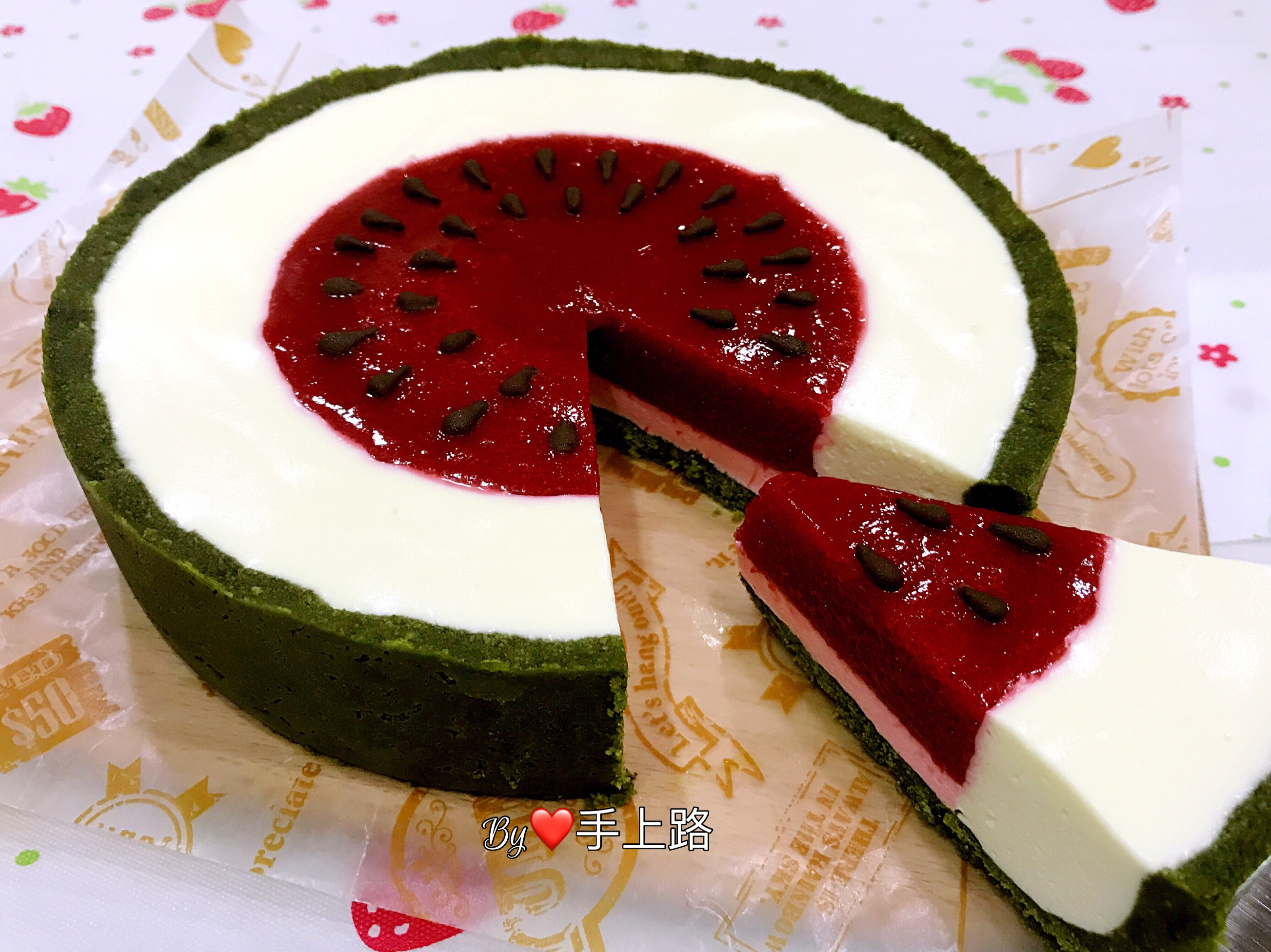 🍉西瓜造型乳酪蛋糕🍉(7吋、免烤箱)