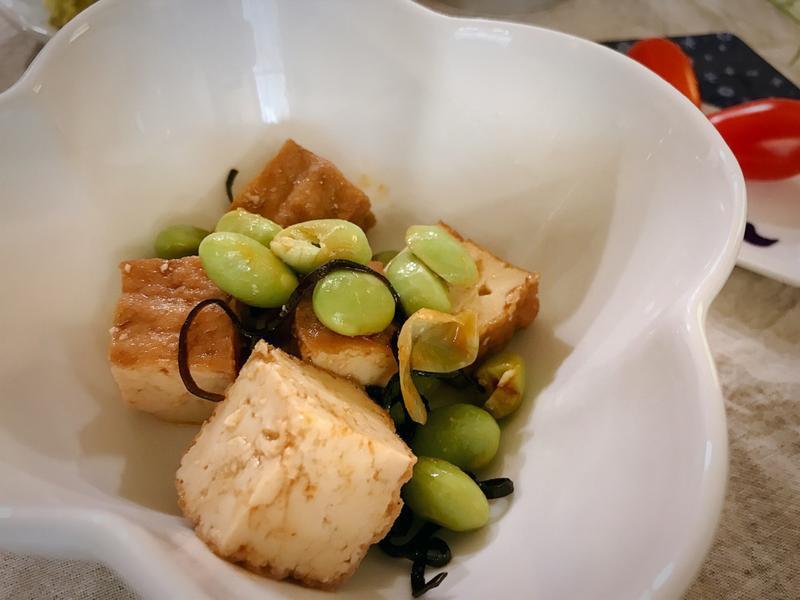 【日式副菜】毛豆涼拌油豆腐 (露營OK)