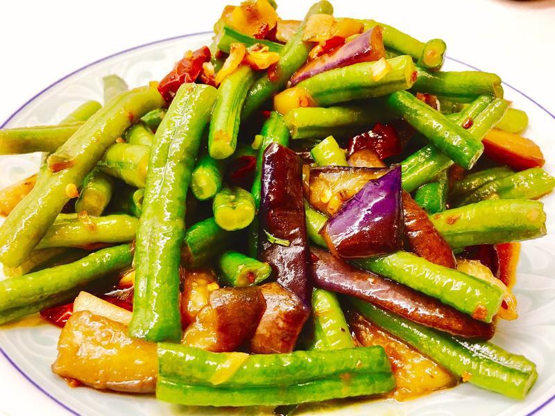 豆角燒茄子(不變色少油法)