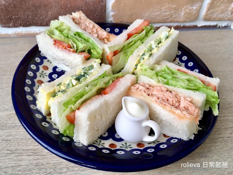 蔬果三明治組合(小黃瓜蛋沙拉.鮭魚起司)