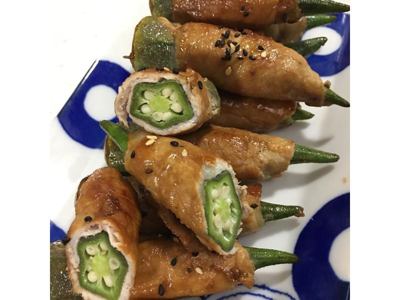 薑汁秋葵燒肉捲