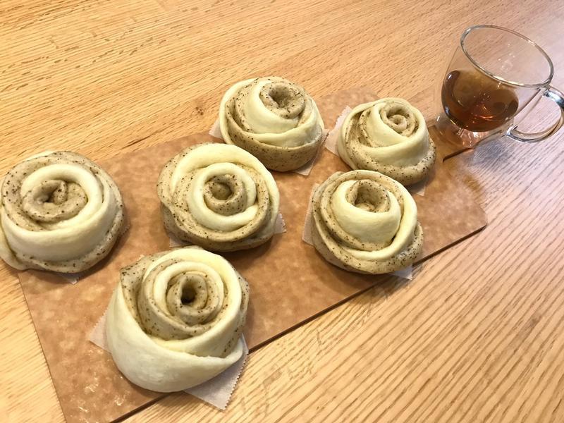 伯爵茶鮮奶雙色玫瑰饅頭