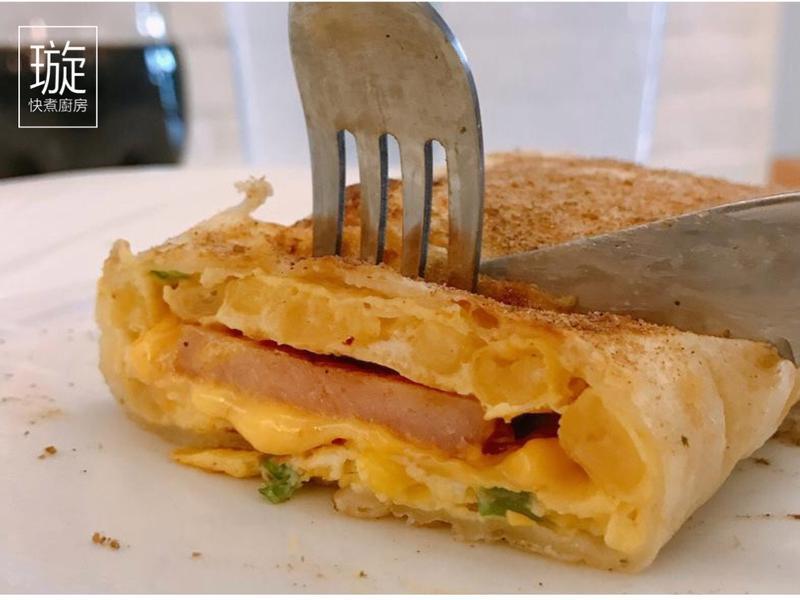 早餐3分鐘上菜~火腿玉米蛋餅