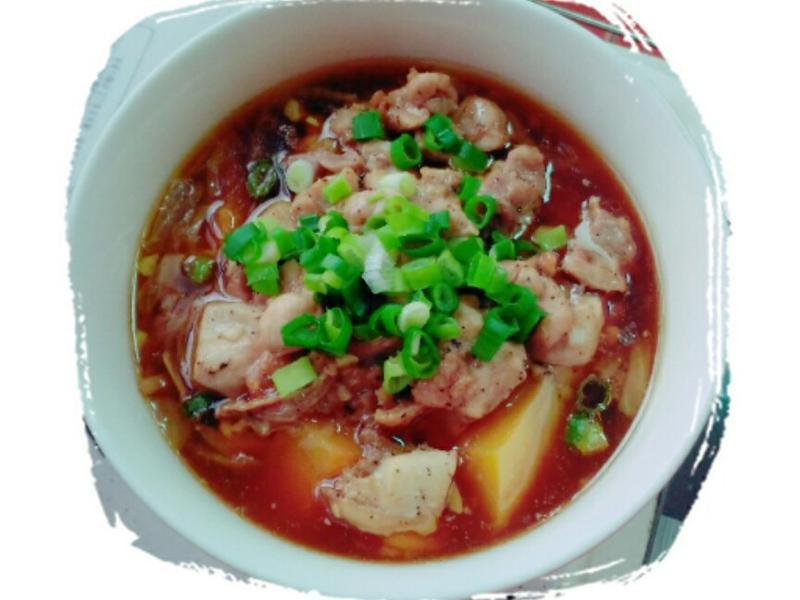 金瓜燜雞腿肉 (電鍋菜)