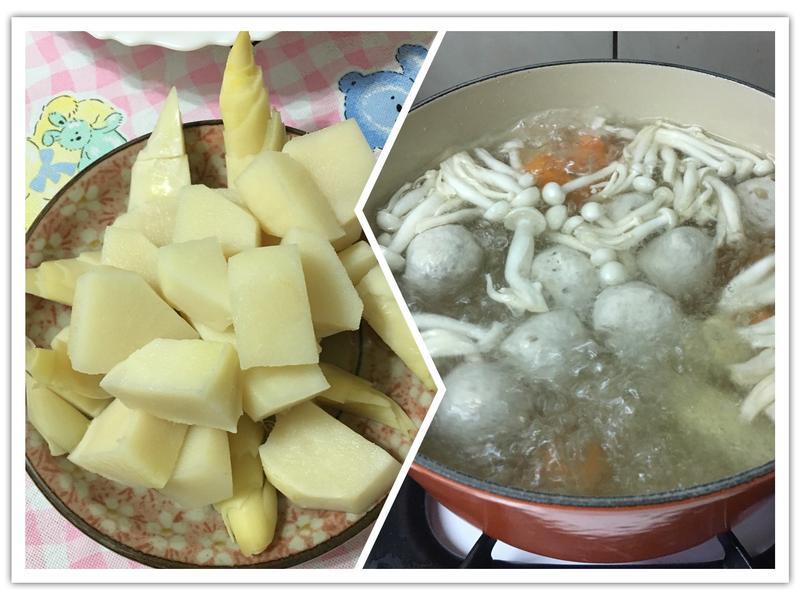 自製高湯=》竹筍香菇貢丸湯+竹筍沙拉