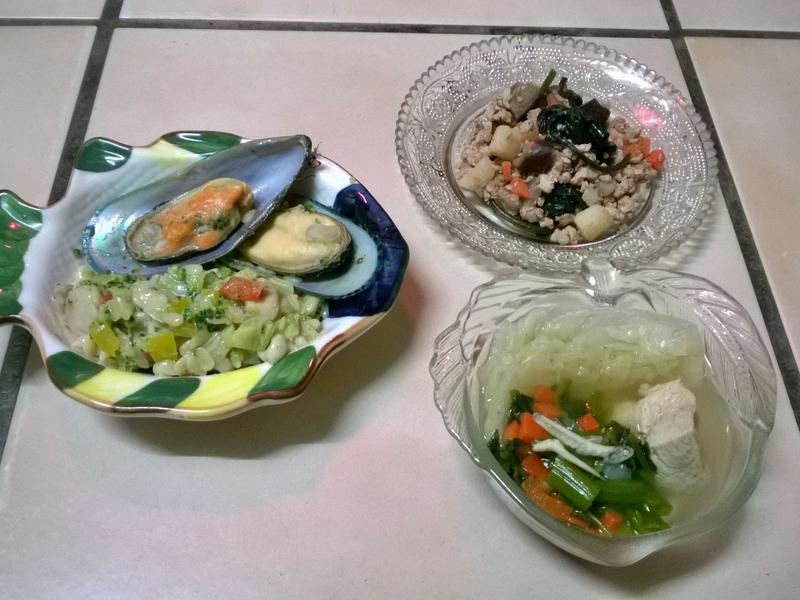 鮮食🐾淡菜義大利麵 打拋豬 空心菜湯