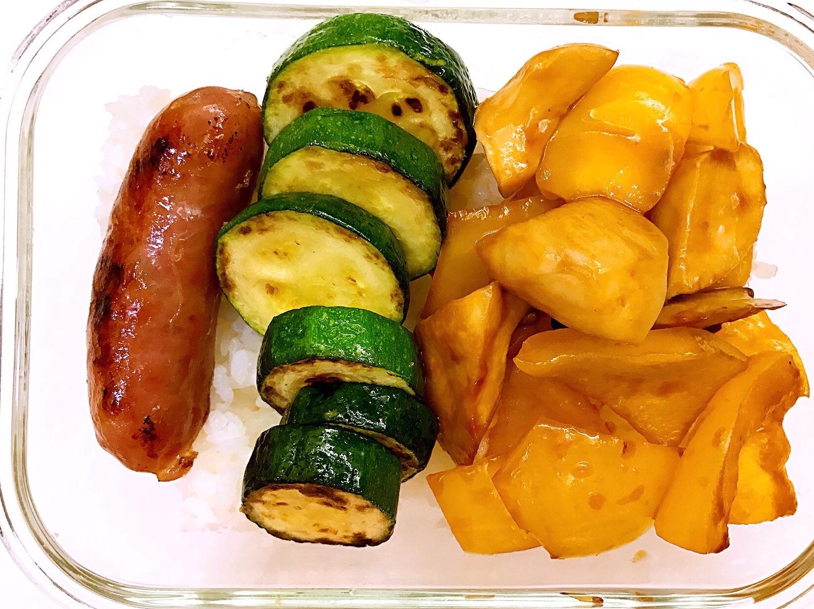 お弁当-170628-糖醋甜椒杏鮑菇