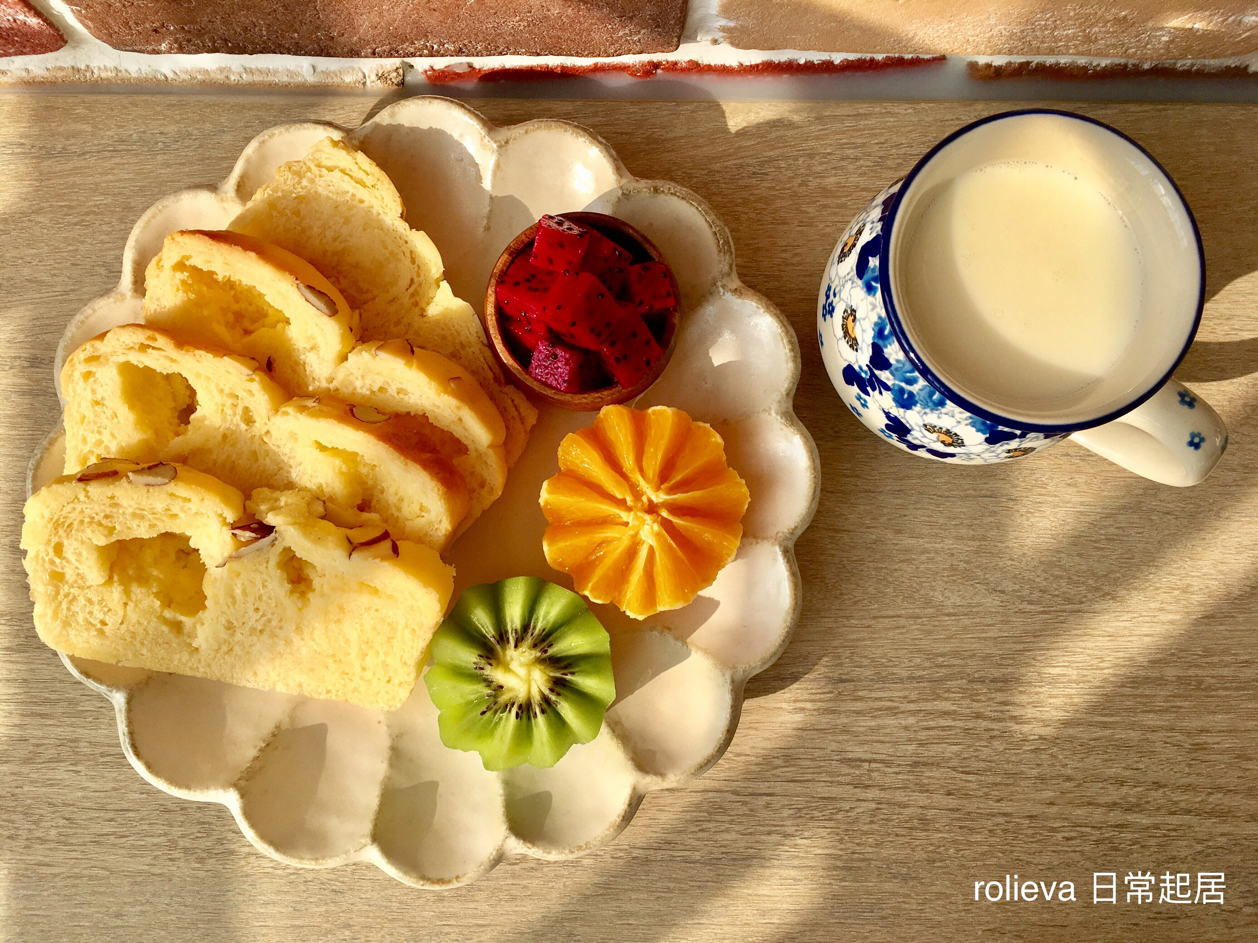 奶酥菠蘿吐司🥝🍊紅龍果優酪乳