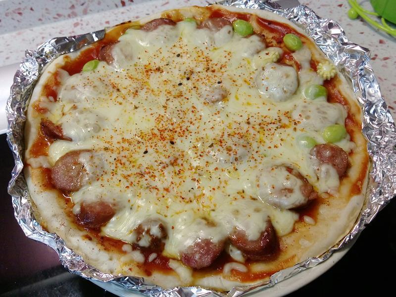 【超簡單香腸蔬菜Pizza批薩】免烤箱
