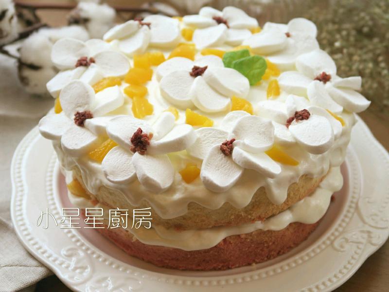 夏日花語水蜜桃鮮奶油蛋糕
