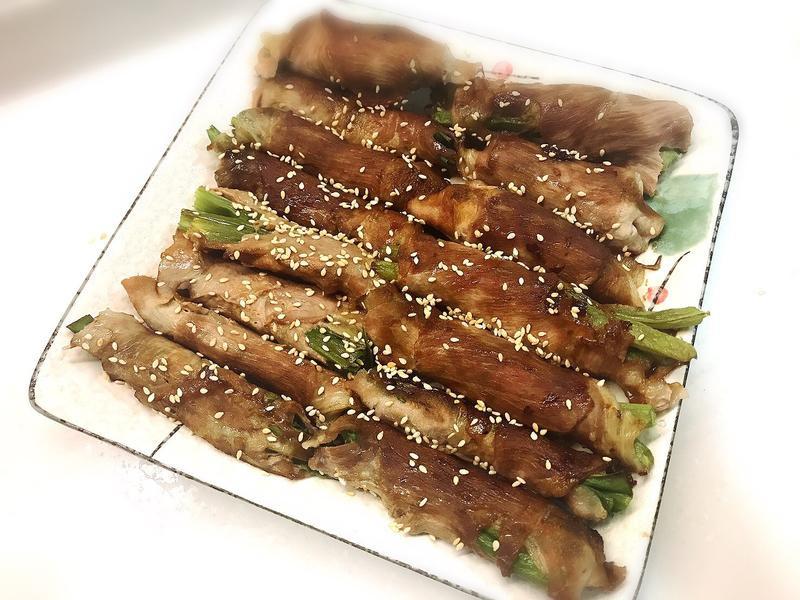 肉片蔥卷、肉片四季豆卷