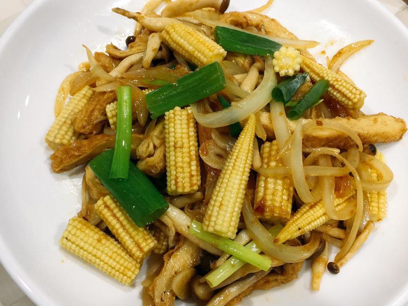 沙茶豆皮玉米筍