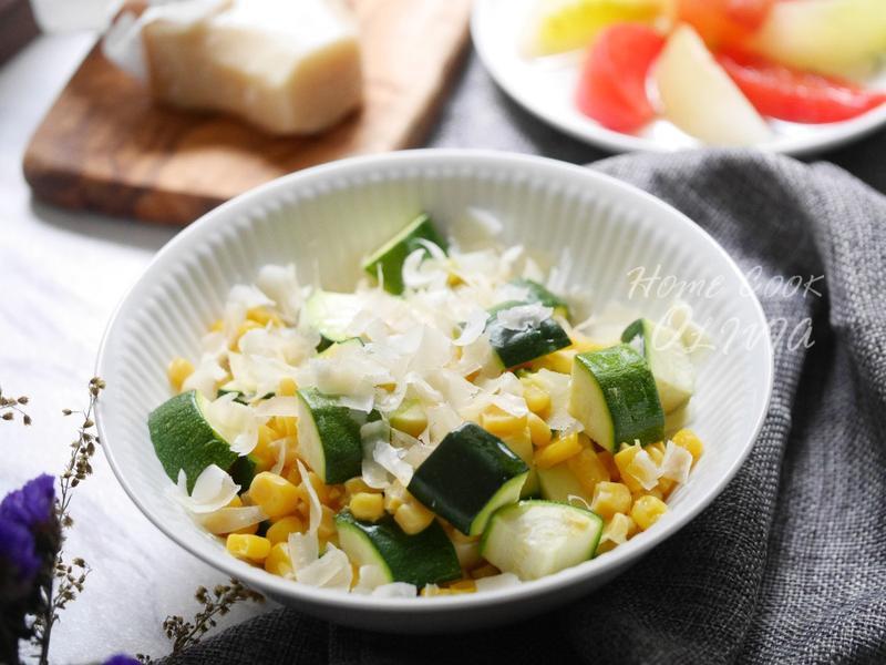 小廚娘❤櫛瓜玉米佐帕瑪乳酪 #電鍋