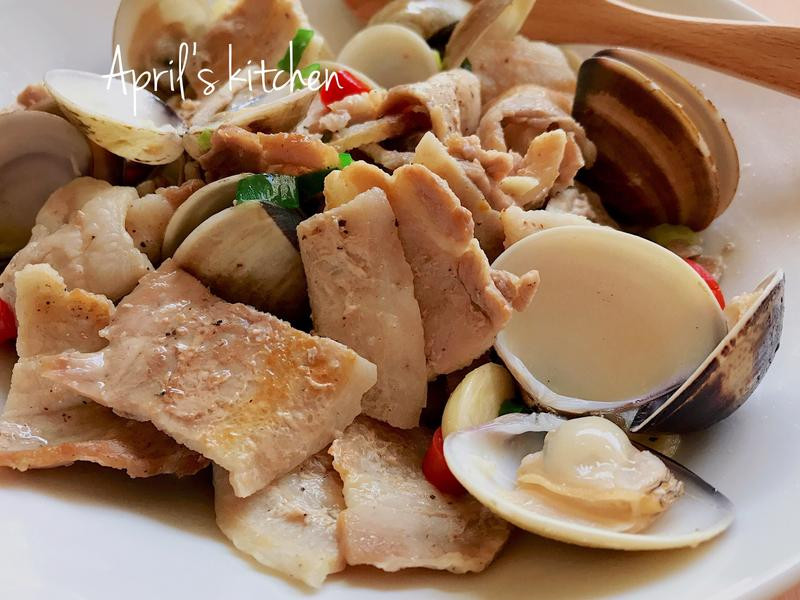 超美味!😋五花肉炒蛤蜊