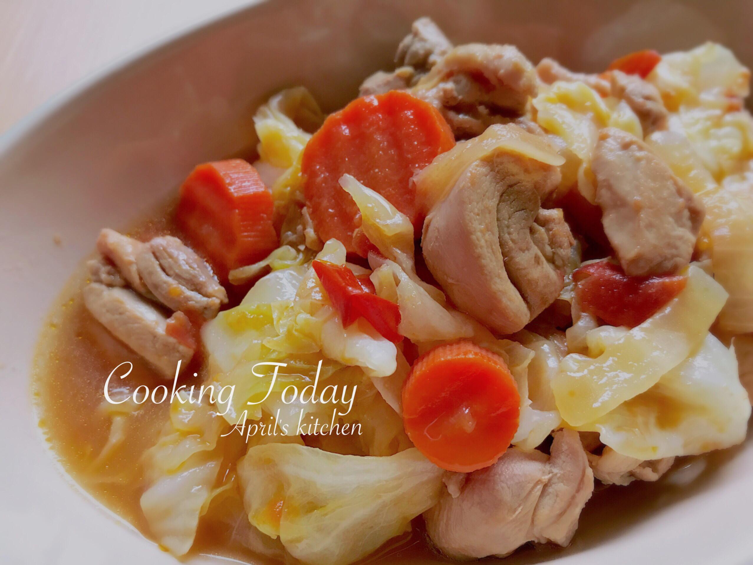 茄汁高麗菜燉雞