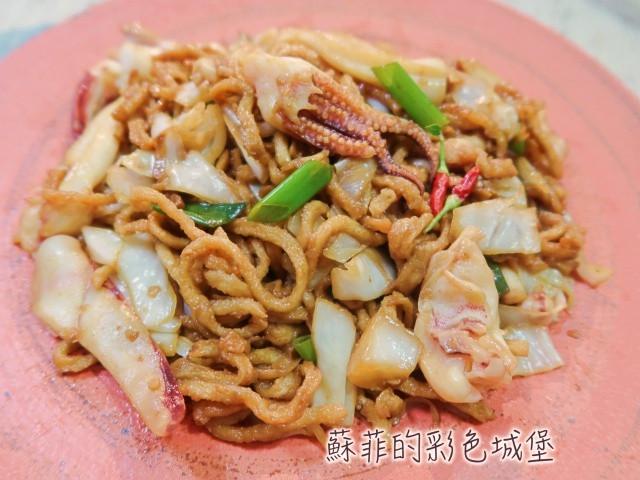 生炒花枝(透抽)乾意麵~台南經典美食小吃