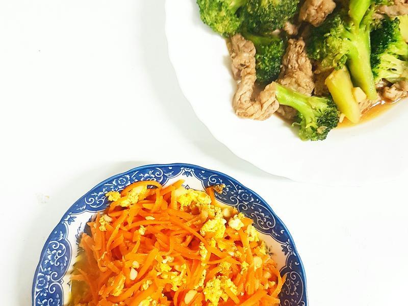 台味輕食---豬里肌炒花椰+紅蘿蔔燴蛋