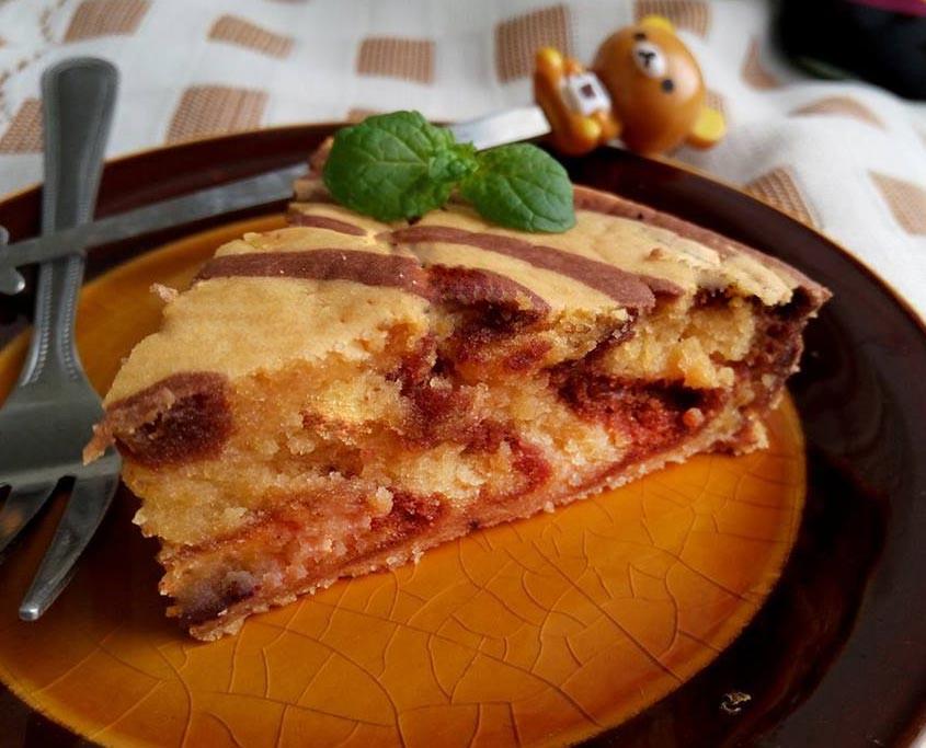 可可花生斑馬紋蛋糕♥冰淇淋做的快速蛋糕