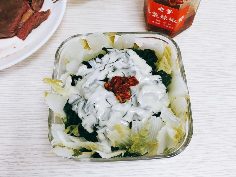 電鍋做午餐-健身飲食-海帶蒸蛋菜丼
