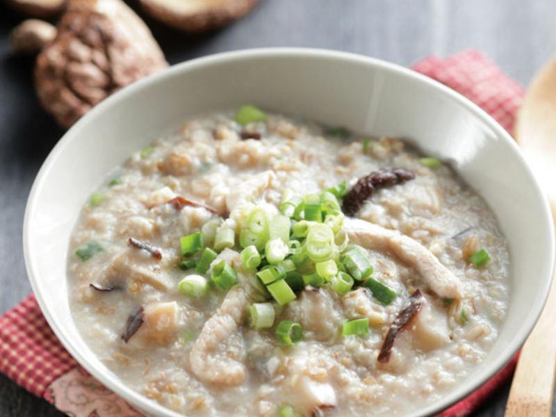 雞蓉鹹麥粥