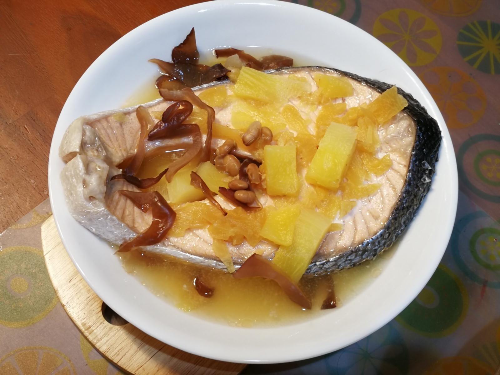 雙鳳清蒸鮭魚片(醬醃鳳梨/生鳳梨)