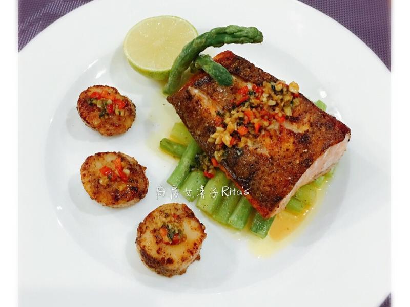 香蒜奶油鮭魚干貝
