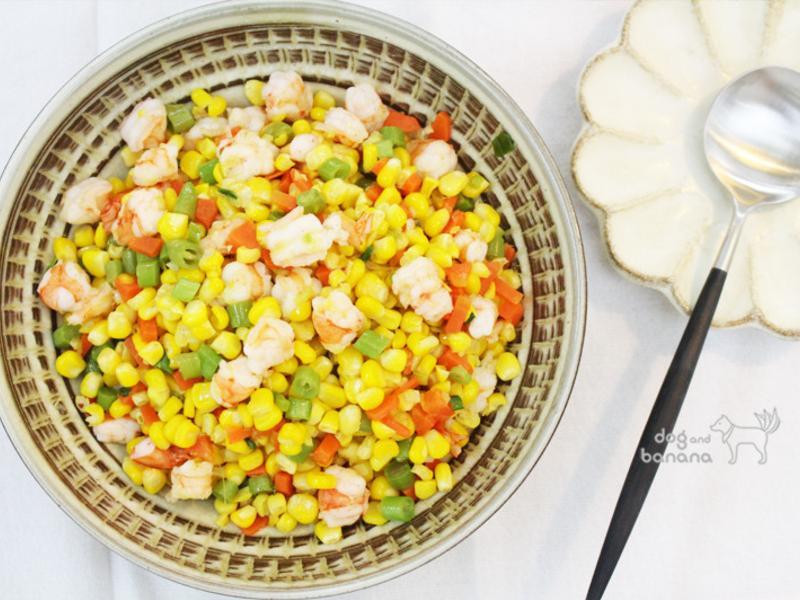 清炒三色玉米蝦仁