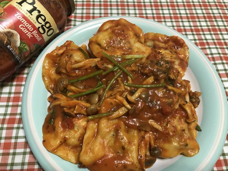 紅醬鮮菇飛碟餃「Prego義麵醬」