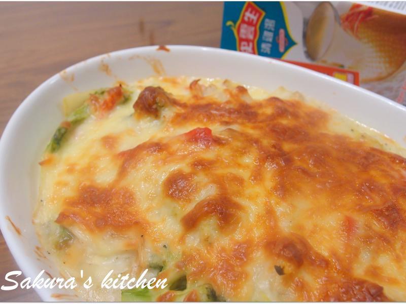 ♥我的手作料理♥ 干貝焗鮮蔬 史雲生雞湯