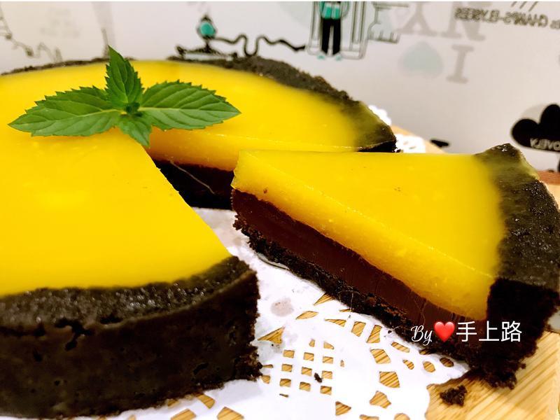 芒果軟凍生巧克力塔(6吋、免烤箱)