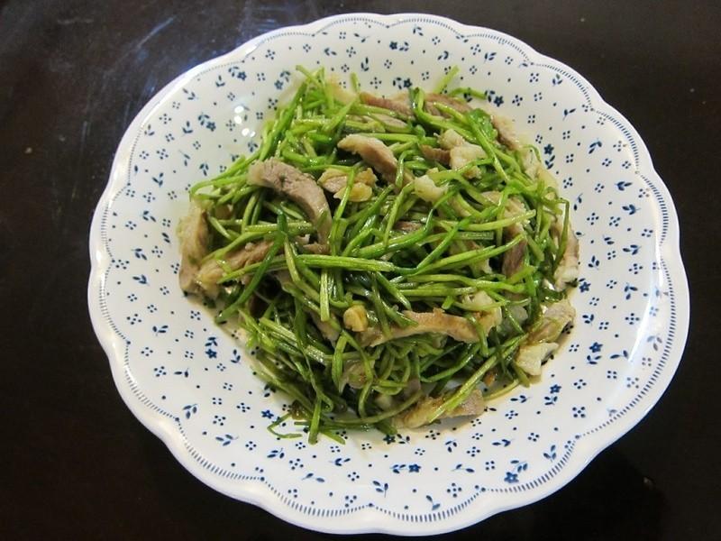懶人妻的超簡單料理~「水蓮炒肉絲」