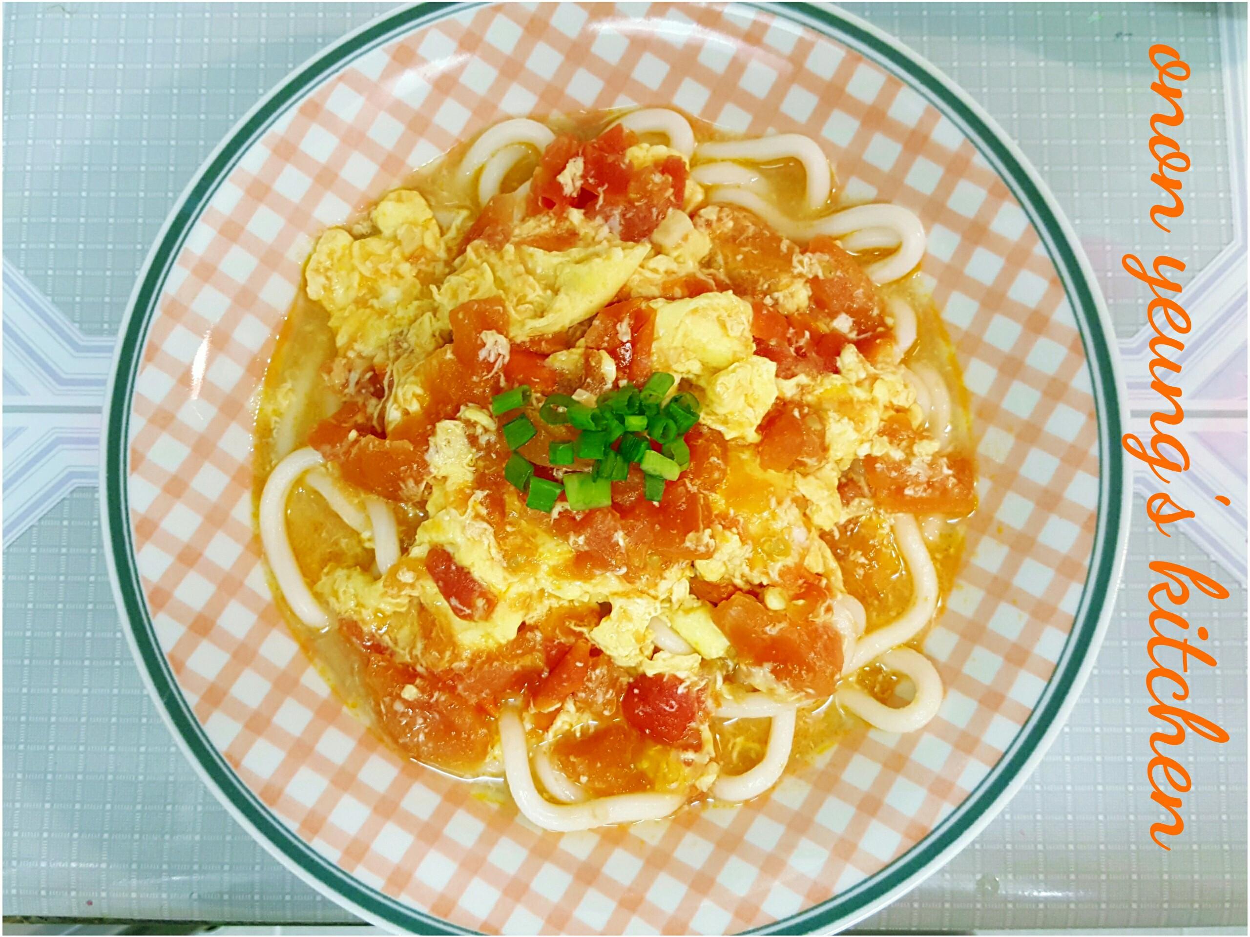 蕃茄滑蛋烏龍湯麵 新手午餐。簡易家常麵餐