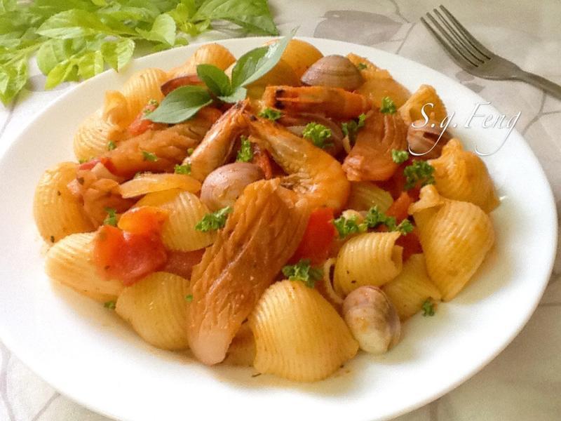 蕃茄海鮮貝殼麵[Prego義大利麵醬]