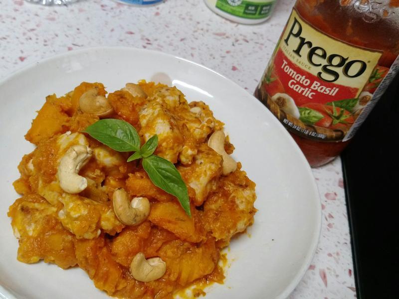 義式南瓜雞佐番茄羅勒醬,Prego 麵醬