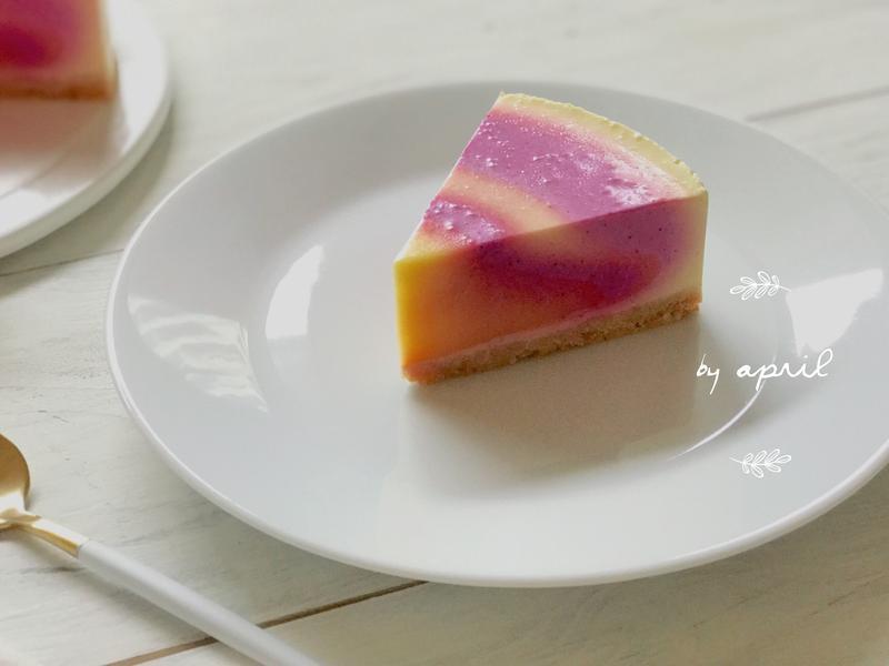 雙果生乳酪蛋糕(芒果+火龍果) 免烤箱