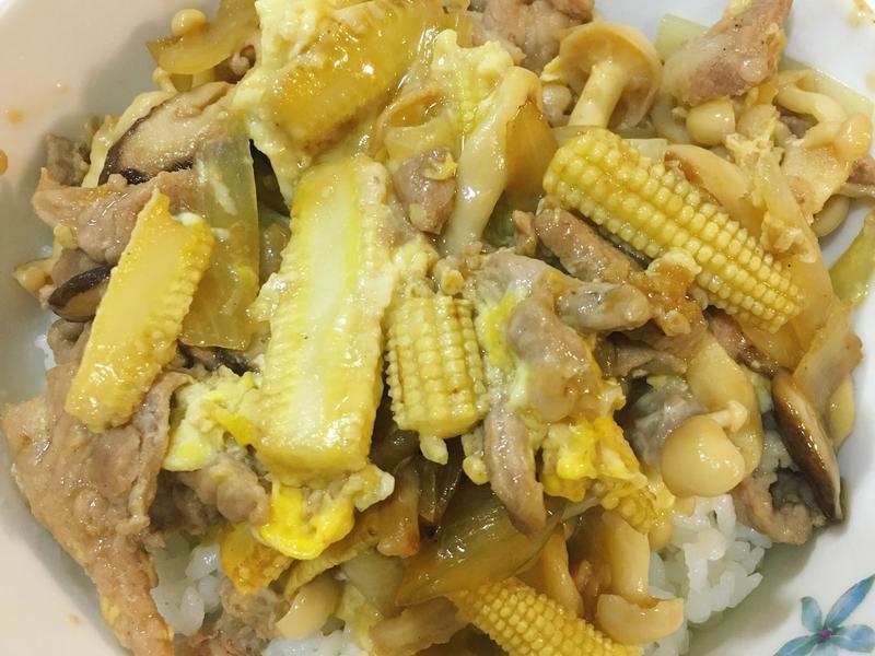 菇菇鮮蔬豬肉丼飯