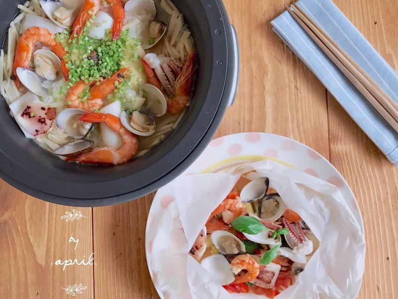 海鮮粥配烤三鮮【大同分離式電子鍋】