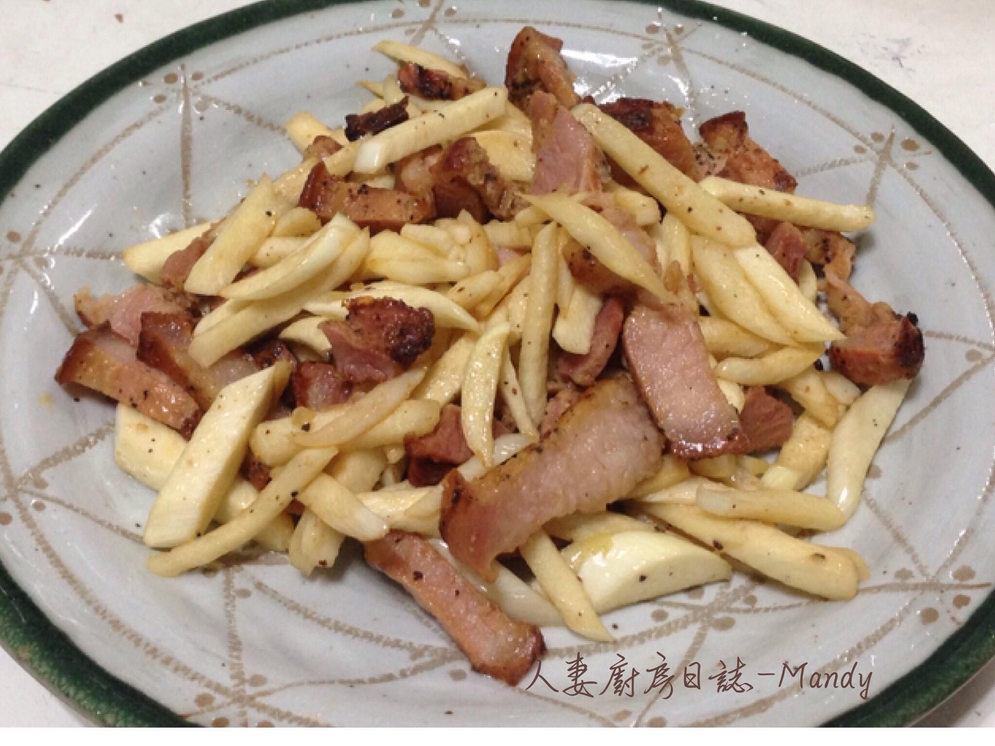 客家鹹豬肉炒茭白筍