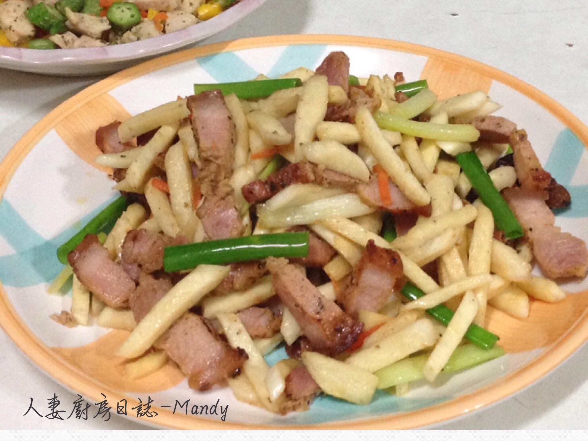 客家鹹豬肉炒美人腿-宴客版