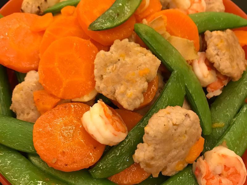 肉饼萝卜甜豆炒虾球