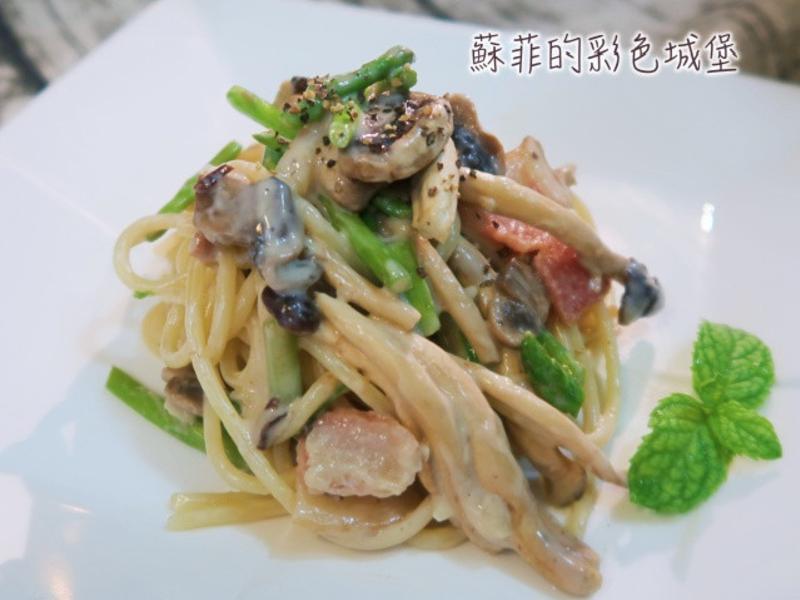 『蘆筍蘑菇培根白醬義大利麵』超級濃郁滑順
