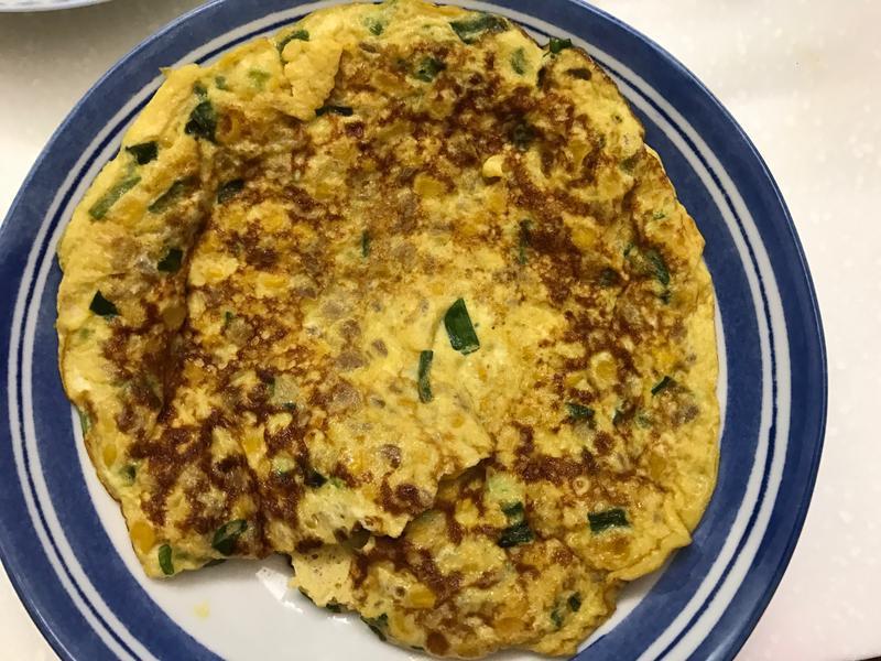お弁当-170914-玉米蔥花菜脯烘蛋