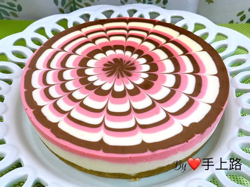 三色拉花生乳酪蛋糕(6吋、免烤箱)