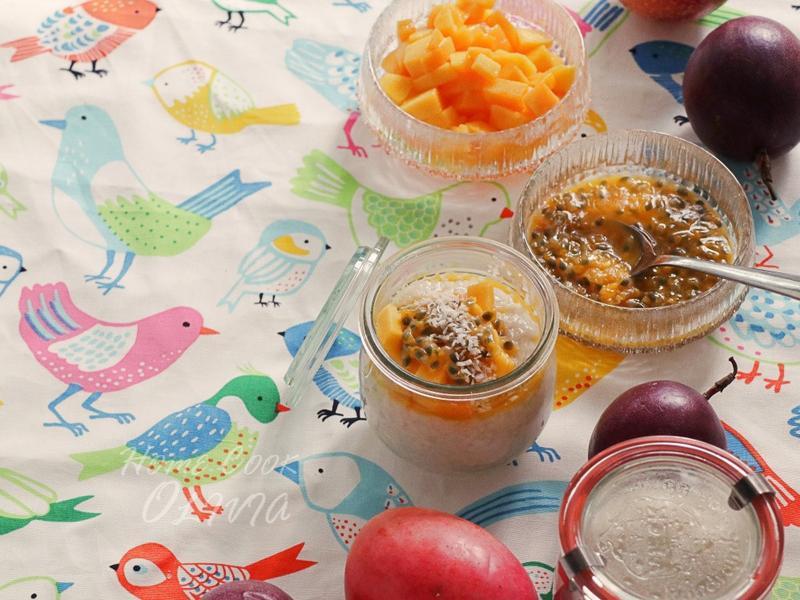 小廚娘❤熱帶水果椰奶米布丁