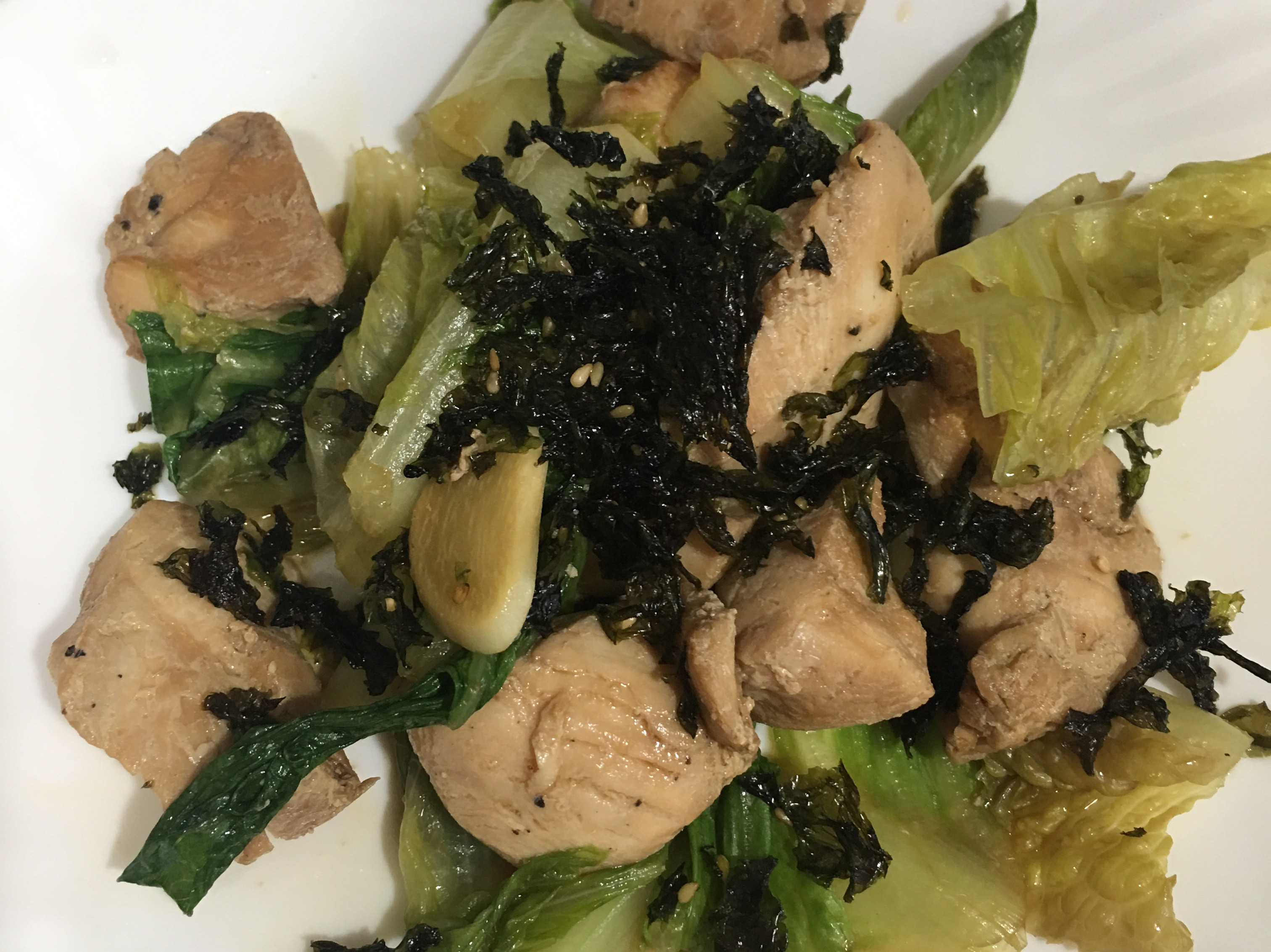 高蛋白「海苔醬燒雞炒生菜」250卡